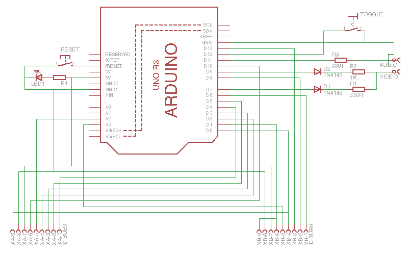 Console circuit - basically an Arduino and a hand-full of passive components.