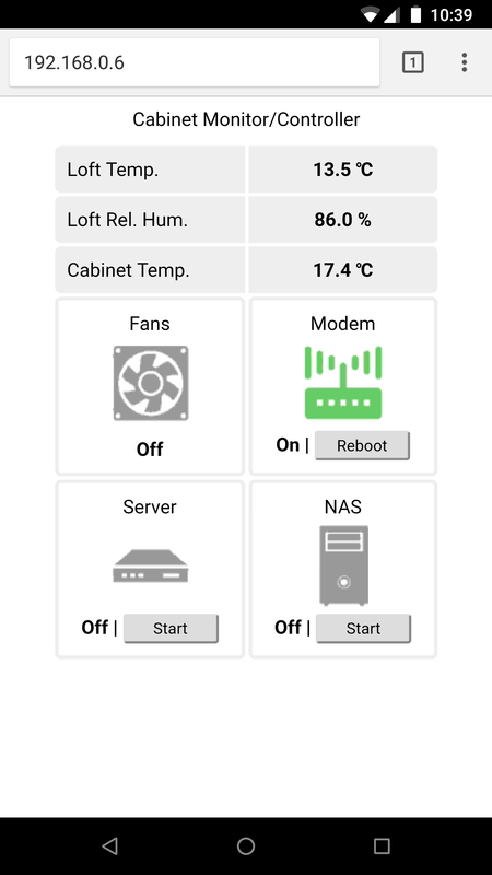 Cabinet Controller/Monitor Web Interface